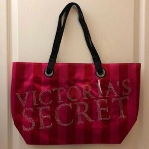 Victoria's Secret Pink Stripes Silk Tote Bag
